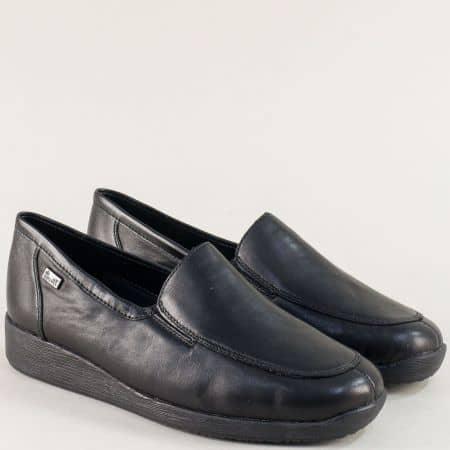 Кожени дамски обувки с два ластика в черен цвят- Rieker 44050ch