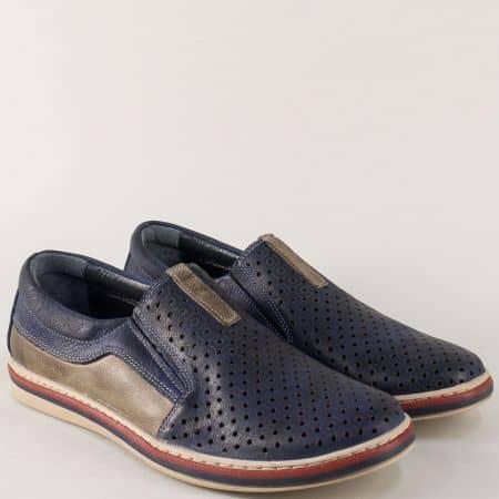 Шити мъжки обувки в синьо и бежово с перфорация 441045dpss