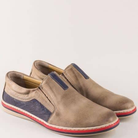 Кожени мъжки обувки с два ластика в бежово и синьо 441045psbj