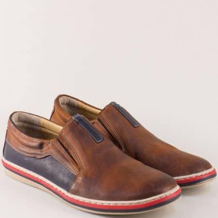 Кожени мъжки обувки в тъмно кафяво и синьо с ластик 441045psk