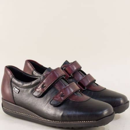 Кожени дамски обувки в черно и бордо с две лепки 44282ch