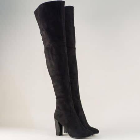 Дамски ботуши над коляното на висок ток в черен цвят 443125vch