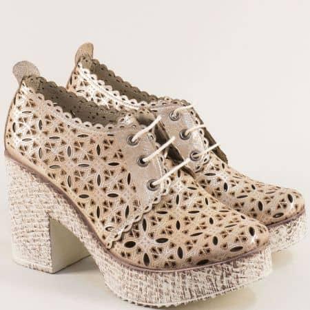 Златисти дамски обувки на висок ток с перфорация 446655zl
