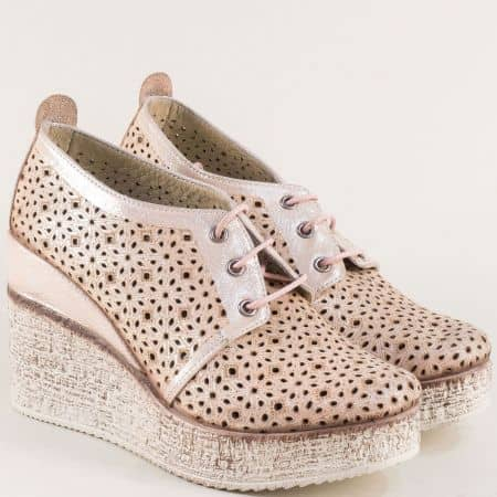 Розови дамски обувки с кожена стелка и перфорация 448254rz
