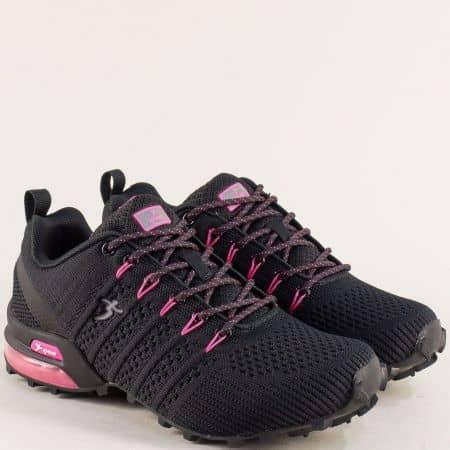 Дамски маратонки в цикламено и черно- KNUP 4485-40chck