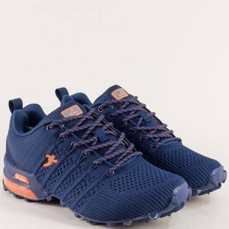 Олекотени дамски маратонки KNUP от текстил в син цвят 4485-40tso