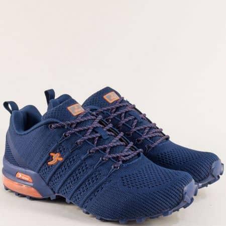 Мъжки маратонки с връзки в синьо и оранж- Knup 4485-45tso