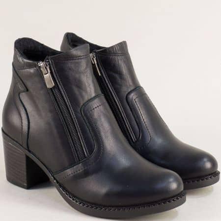 Черни дамски боти с два ципа от естествена кожа 449437ch