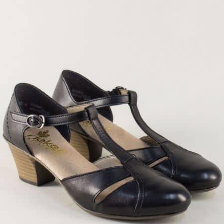 Швейцарски дамски обувки в черен цвят на среден ток  45054ch