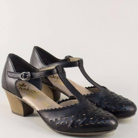 Черни дамски обувки на среден ток с перфорация- Rieker  45055ch