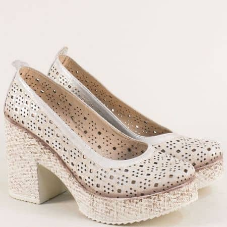 Дамски обувки на висок ток с платформа от кожа в сребро 450655sr