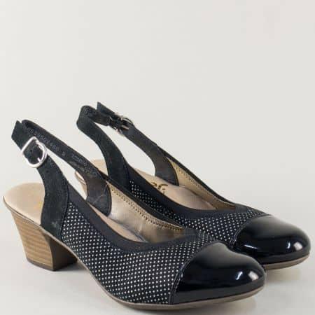 Черни дамски обувки с отворена пета и среден ток- Rieker 45071ch