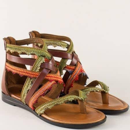Равни дамски сандали в зелено, оранж и тъмно кафяви m453kps