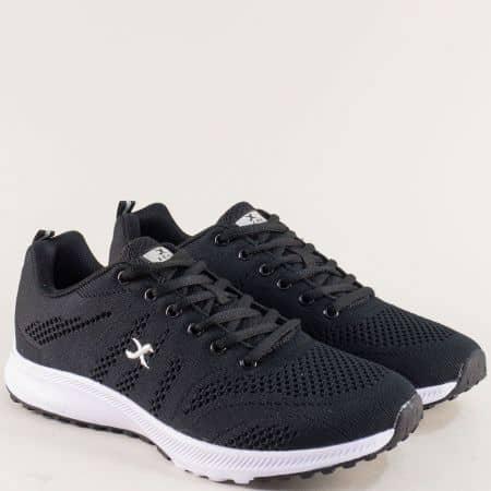 Мъжки маратонки в черен цвят на бяло ходило- KNUP 4546-45ch