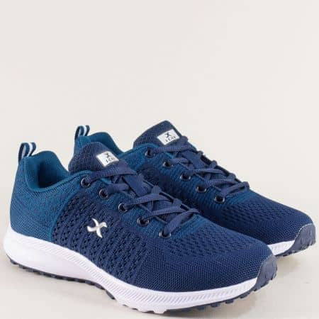 Сини дамски маратонки на бяло ходило- KNUP 4552-40s