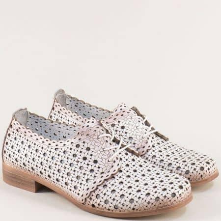 Перфорирани дамски обувки в бяло от естествена кожа 455b