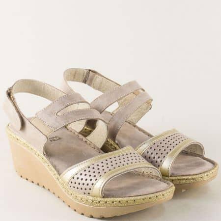 Кожени дамски сандали на платформа в бежов цвят 456615bj