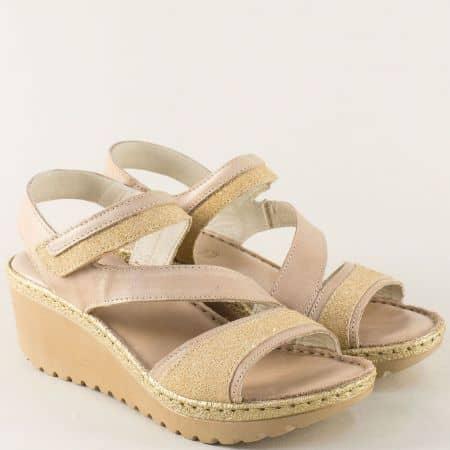 Бежови дамски сандали от естествена кожа на платформа 456617bj