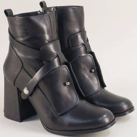Дамски боти на висок ток от естествена кожа в черен цвят 4571ch