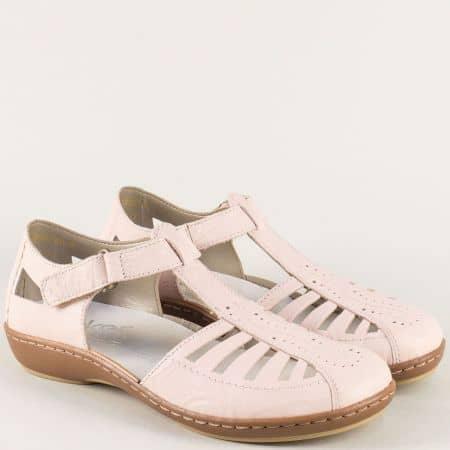 Анатомични дамски сандали с лепка в розов цвят- Rieker 45865rz