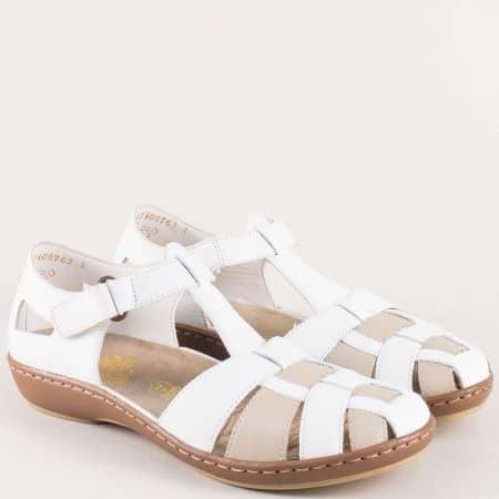 Бели дамски сандали на анатомично ходило- Rieker 45869b