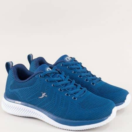 Сини дамски маратонки с връзки на бяло ходило 4598-40ts