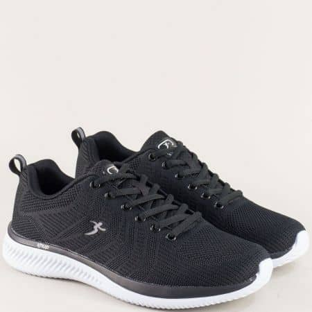 Черни мъжки маратонки с връзки на бяло пходило- Knup 4598-45ch