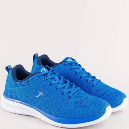 Спортни мъжки обувки в син цвят на бяло ходило- Knup 4598-45s