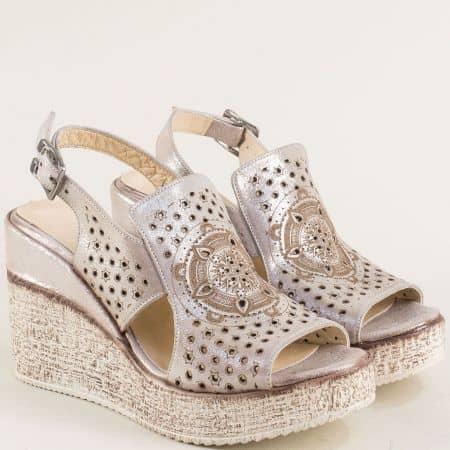 Розови дамски сандали от сатен и естествена кожа 461254srz