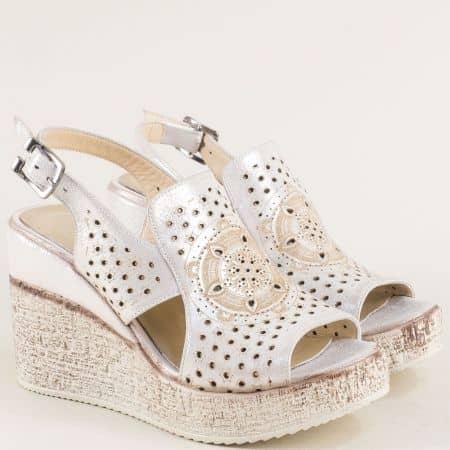 Сиви дамски сандали на платформа с кожена стелка 461254ssv