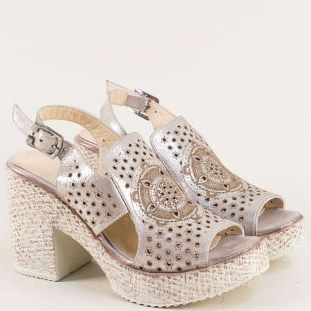 Розови дамски сандали на висок ток с перлен блясък 461655srz