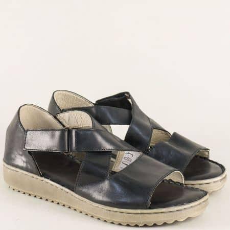 Черни дамски сандали на равно ходило от естествена кожа 4625ch