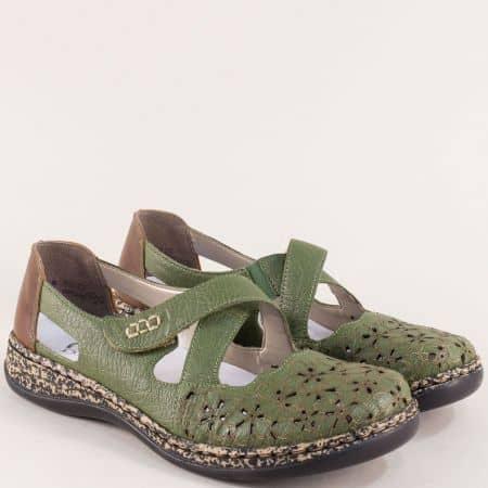 Зелени дамски обувки на шито Antistress ходило- Rieker 4634z
