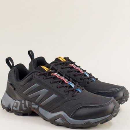 Спортни мъжки обувки в черно и сиво с връзки- Knup 4636-49chsv