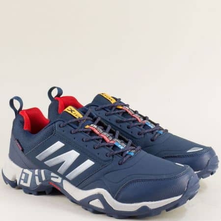 Спортни мъжки обувки с връзки в син цвят- Knup 4636-49s