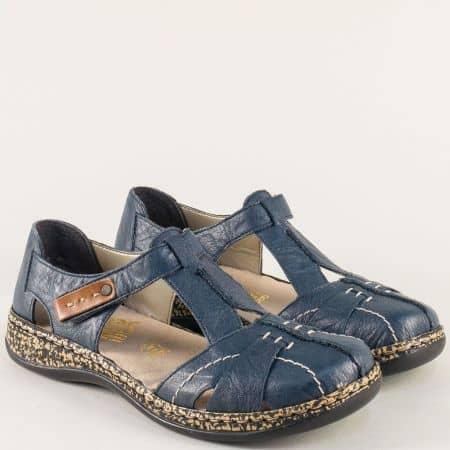 Дамски сандали в син цвят на анатомично ходило- Rieker 46380s