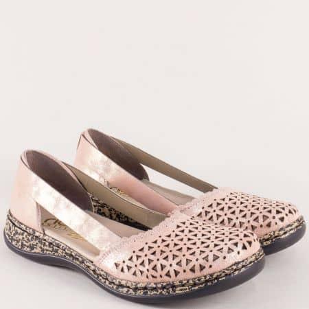 Анатомични дамски обувки с перфорация в розов цвят 46387rz