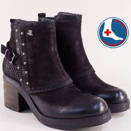Ортопедични дамски боти в черен цвят на висок ток 464014nch