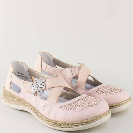 Розови дамски обувки с кожена стелка и лепка- Rieker 4640rz
