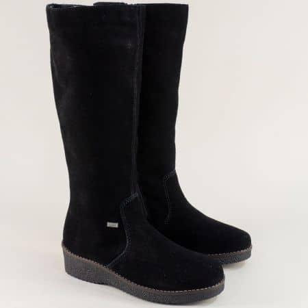 Велурени дамски ботуши на платформа в черен цвят 4651vch