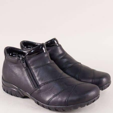 Равни дамски обувки в черен цвят с два ципа- Rieker  4673ch