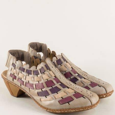 Дамски обувки с отворена пета в бежово, бордо и лилаво 46778bjps