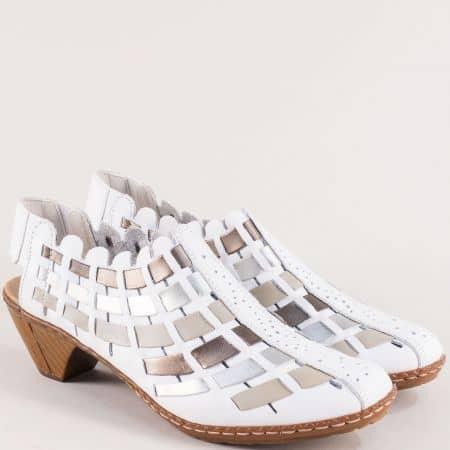 Кожени дамски обувки в бяло, бежово, бронз и сребро 46778bps
