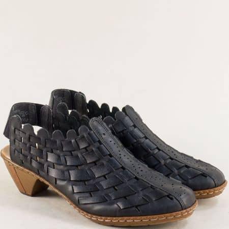 Черни дамски обувки с отворена пета и среден ток- RIEKER 46778ch