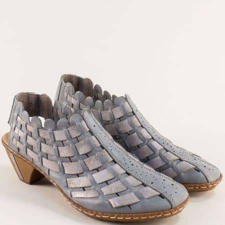 Кожени дамски обувки на среден ток в синьо и сребро- RIEKER 46778sps