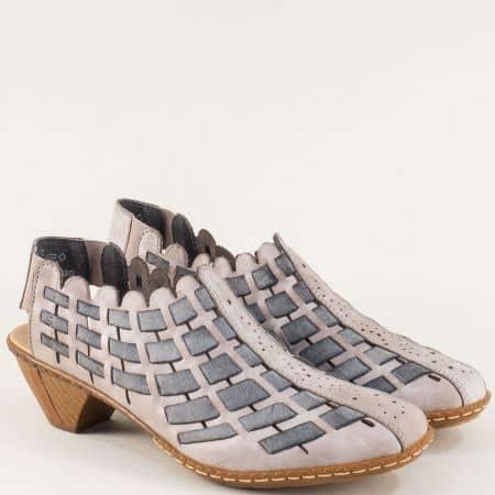 Сиви дамски обувки с отворенапета на среден ток- Rieker 46778sv