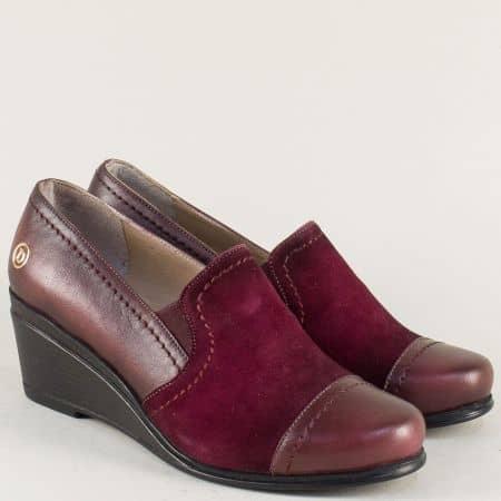 Дамски обувки от естествен велур и кожа в цвят бордо 46bd
