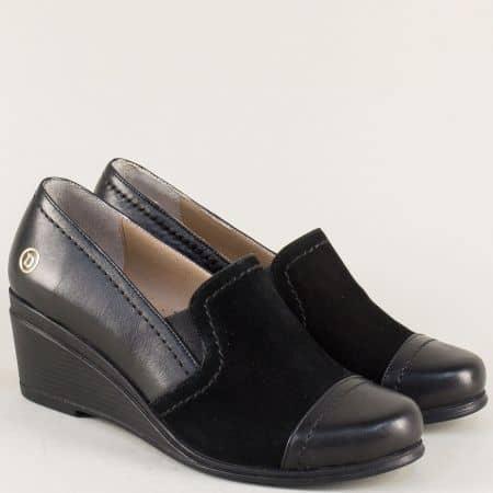 Черни дамски обувки на клин ходило с кожена стелка 46ch