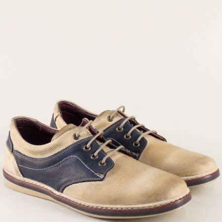 Равни мъжки обувки с връзки в бежово и тъмно синьо 471045bjs