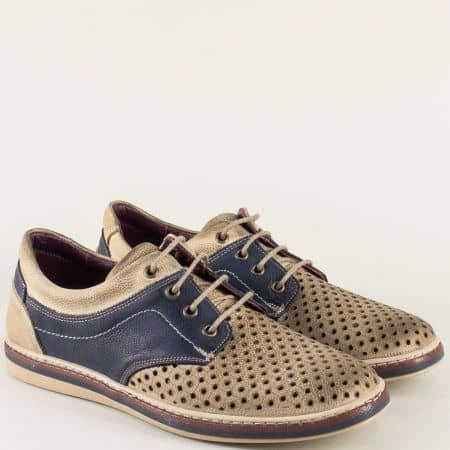 Шити мъжки обувки с връзки в бежово и тъмно синьо 471045dbjs